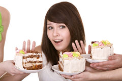Girl refuse to eat  pie. Royalty Free Stock Photo