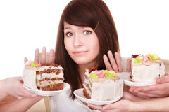 Girl refuse to eat pie. Stock Photo