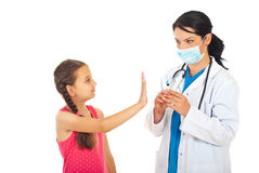 Girl refuse vaccination Stock Image
