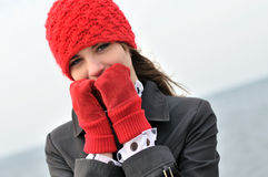 Girl in reg hat Royalty Free Stock Images