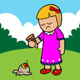 The girl regretted the ice cream falling. Illustration Stock Photos