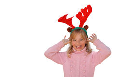 Girl with reindeer antlers Stock Photo