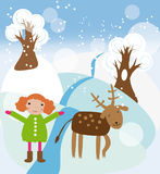 Girl and reindeer. Vector graphic card with nice winter landscape, little girl in warm coat and reindeer Stock Images