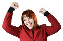 Girl rejoicing a win Stock Images