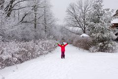 Girl rejoicing in winter and school holidays. The girl raised her hands rejoicing in winter and school holidays stock photography