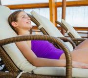 Girl relax in aquapark Royalty Free Stock Photo
