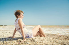 Girl relax on the beach Stock Photography