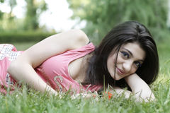 Girl relax on grass Stock Photography