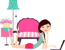 Girl relax at home. Illustration of girl relax at home stock illustration