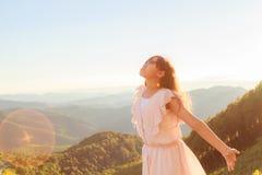 Girl relax on mountain Stock Photo