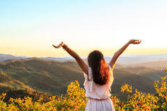 Girl relax on mountain Royalty Free Stock Image