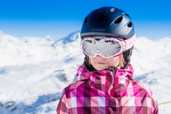 Girl relax in snowy mountains. Royalty Free Stock Photos