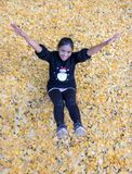 Girl relaxes in the middle of the yellow leaves. Stock Photo