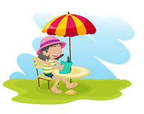 Girl relaxing royalty free illustration