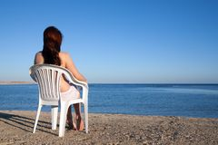 Girl Relaxing At Resort Beach Stock Image