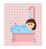 Girl relaxing in  bath Stock Photos