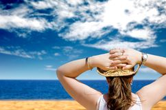Girl relaxing at the beach Royalty Free Stock Photography