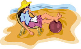 Girl relaxing on the beach. Vector illustration of young girl relaxing on the beach. Handmade of my best sketch. All objects on separated layers, easy to redact Royalty Free Stock Images
