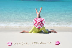 Girl relaxing on the beach Royalty Free Stock Photography