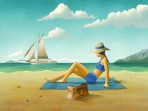 Girl relaxing at the beach Stock Photos