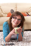 girl relaxing coffee Stock Image