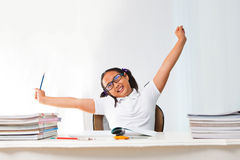 Girl relaxing emotion in class room Royalty Free Stock Images