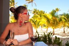 Girl relaxing enjoying luxury lifestyle Stock Photos