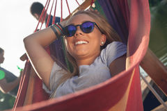 Girl Relaxing In Hammock Royalty Free Stock Photo