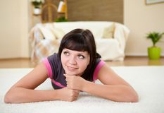 Girl relaxing at home Royalty Free Stock Photography