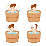 Girl Relaxing In Hot Spring Bath Set Stock Image