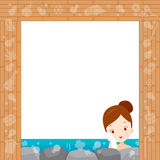 Girl Relaxing In Hot Spring Border Royalty Free Stock Photos