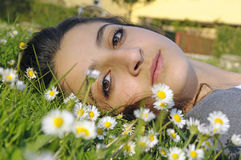 Girl relaxing in nature Royalty Free Stock Photography