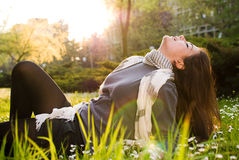 Girl relaxing in nature stock image