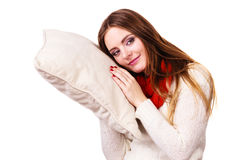Girl relaxing on pillow. Woman sleepy tired girl holding pillow almost falling asleep. Health balance sleep deprivation concept. Female student or worker with Stock Images