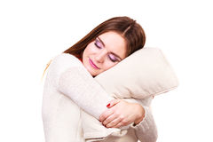 Girl relaxing on pillow. Royalty Free Stock Images