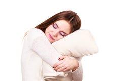 Girl relaxing on pillow. Stock Image