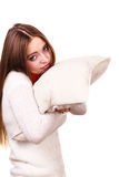 Girl relaxing on pillow. Royalty Free Stock Photos