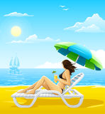 Girl relaxing on the sea beach deck-chair royalty free illustration