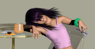 Girl relaxing sitting at a table. Girl with purple hair relaxing, sitting at a table and putting her head on her arm resting on the table, over a gray background Stock Photos