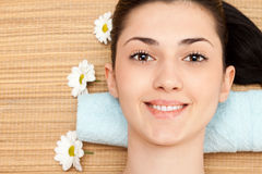 Girl relaxing in spa salon Royalty Free Stock Photo