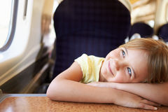 Girl Relaxing On Train Journey Stock Image