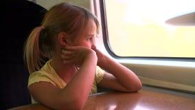 Girl Relaxing On Train Journey stock video