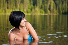 Girl relaxing in water Royalty Free Stock Photography