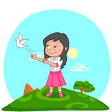 Girl releasing pigeon. For freedom in India background Royalty Free Stock Photo