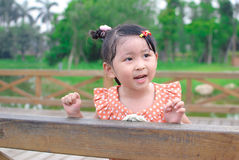 Girl rely the handrail Stock Photography