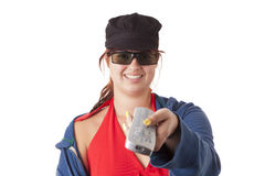 Girl with remote control Stock Photography