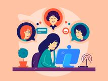 Girl remotely communicates with friends. Online communication on computer. Vector illustration Royalty Free Stock Photo