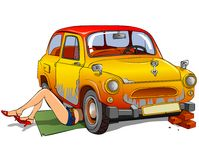 Girl repairing car. On a white background Stock Photo