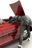 Girl repairing car. Scene of the girl repairing car Royalty Free Stock Photography