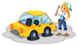 A girl repairing a yellow car with flat tires Royalty Free Stock Photography